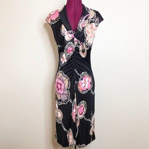 Trina Turk | 100% Silk Ruched Paisley Floral Dress